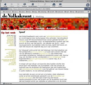 Screenshot Volkskrant Weblog